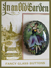 DANCING BLUEBELL FAIRY Glass Dome OVAL BUTTON Vintage FLOWER Floral BALLET