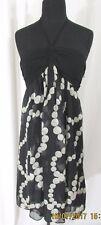 Zara Basic Silk Blend Black Halter w/Dot print Dress Size L