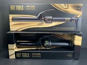 "Hot Tools Professional Black Gold 1"" Salon Curling Iron Hair Wand HT1181BG 24K"