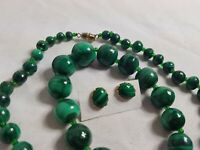 """Graduated Large Banded Green Malachite Bead 22"""" Necklace & Earrings Vtg Estate"""