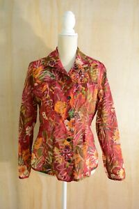 Chico's - Maroon multicolor FLORAL semi-sheer long sleeve button down shirt sz 1