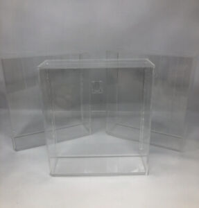 """Lot of THREE Clear Acrylic Display Case/Box8.25"""" x 9.5"""" x 2.75"""" STARTING LINEUP"""