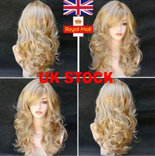 UK Womens Blonde Middle Long Wig Curly Wavy Anime Cosplay Party Full Hair Wigs