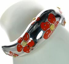 Vintage Flli Menegatti Solid 925 Sterling Silver Flower Wave Cuff Bracelet '