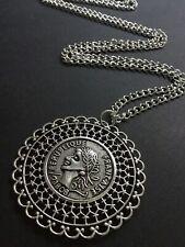 Long Silver Chain Necklace With a Big Tibetan Coin Pendant Boho Festival gypsy