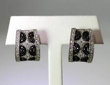 Nice! Sterling Silver Black Marcasite & Cubic Zirconia Omega Back Earrings –7205