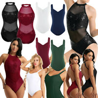 New Adult Womens Sequined Ballet Leotard Dance Gym Skate Unitards Dress Bodysuit