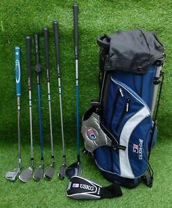 US Kids Ultra Light RH Golf Clubs With Stand Bag Driver, 4 Irons & Putter