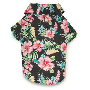 Casual Canine Hawaiian Breeze Camp Dog Shirt Beach Flowers Island BLACK LARGE