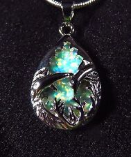 Sterling 925 Silver SF Pendant & Necklace Green Lab Fire Opal DOLPHINS IN SEA