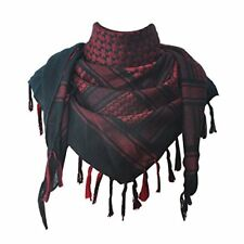 100% Cotton Military Shemagh Tactical Desert Keffiyeh Scarf Wrap Black and Red
