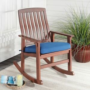 Better Homes & Gardens Delahey Cushioned Outdoor Wood Rocking Chair