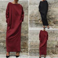 VONDA Womens Loose Baggy Long Sleeve Dresses Vintage Casual Long Maxi Dress New