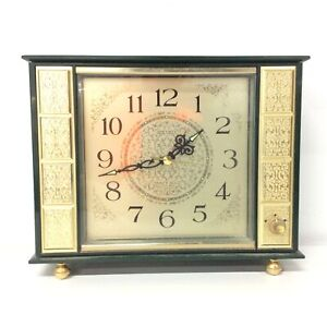 Seiko Green & Gold Carriage Clock Fancy Gold Music Bell Japan #563