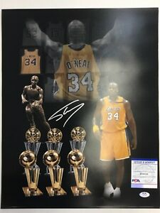 SHAQUILLE O'NEAL LAKERS MVP SIGNED 16X20 AWARDS PHOTO EDIT PSA WITNESS 9A24748
