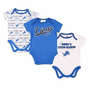 Gerber NFL Infant Detroit Lions 3 Pack Short Sleeve Bodysuit Set