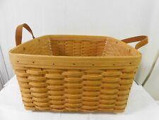 "2000 Longaberger Laundry Basket ? Leather Handles 16 x 8 1/2 "" h w/ Protector"