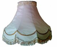 "10,12,14,16,18"" Double Scallop Lampshade Cream Gold Line Trim Fringe & Tassle"