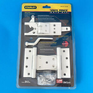 Stanley S824-318 Vinyl Fence Gate Hinges & Latch Set White outdoor lock kit