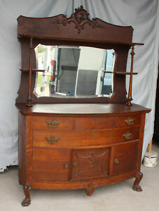 Antique Oak Sideboard Buffet – carved claw feet - Lots of Storage Space