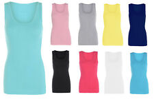 Ladies Summer Fitted Ribbed Stretchy Plus Size Vest Top T-Shirt Sizes UK 8-26