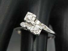 Twin Old Mine Cut Diamond Ring .60 tcw G/VS Cocktail ART DECO 14k WG Handmade