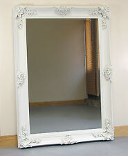 Abbey Large Vintage Cream Rectangle Ornate Wall Mirror- 31in x 43in