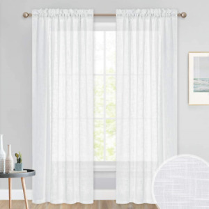 PONY DANCE White Voile Curtains - 84 inch Drop Thick Semi Sheer Door Net Curtain