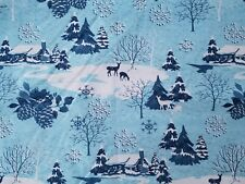 LINED VALANCE 42X18 GLITTER WINTER SNOWFLAKE DEER FOREST PINE CONE LODGE CABIN