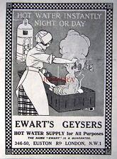 Small 1923 'EWART'S GEYSERS' Home Water Heater AD #2 - Original Print ADVERT