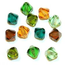 SCB6505 FOREST MIX Green Brown 8mm Bicone Swarovski Crystal Bead Assortment 12pk