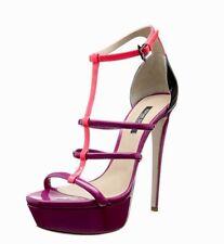 RUTHIE DAVIS Madeline Patent Leather Purple Platform Sandal 38 EU 7.5 US NEW