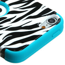 For iPod Touch 5 5th Gen Rubber IMPACT TUFF HYBRID Case Skin Cover Zebra Teal