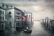 "36x48""(92x122cm)100%Hand Painted Oil Flat,Venice, Gondola, Italy,Black & White"