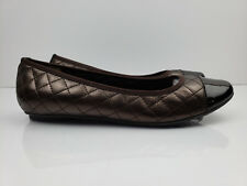 Vaneli womens bronze quilted patent leather toe cap ballet flat shoes size 6