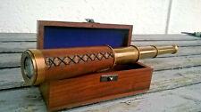 Telescope longue vue marine en laiton Stanley London 38cm dans son coffret bois
