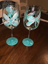 Teal Dragonfly Wine Glasses