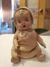 Vintage Composition Doll Drink / Wet Brown eyes very little crazing. Dimples