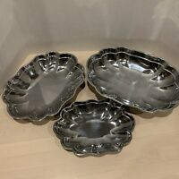 Wilton Armetale RWP Set Of 3 Scalopped Dish Serving Trays