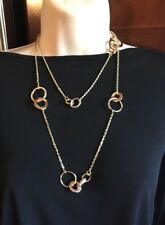 WHITE HOUSE BLACK MARKET Long Gold & Rose GoldTone Crystal Convert Necklace-NWT!