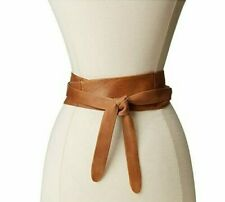 Women Obi Belt Solid Color PU Leather Wide Waist Band 70 Inch Extra Size