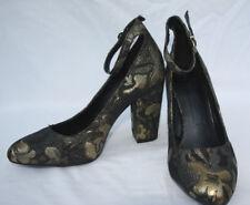 Marks & Spencer UK Size 8 Gold & Black Patterned Ankle Strap Occasion Shoes