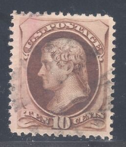 U.S. STAMP #188 — 10c JEFFERSON - 1879 — USED + CERTIFICATE