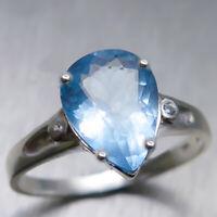 2.1cts Natural light blue Aquamarine 925 silver 9ct 14k 18k Gold Platinum ring