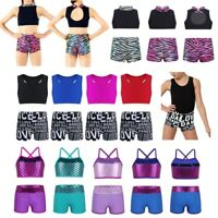 Kids Girls Strappy Top Bra+Shorts Set for Sports Workout Gymnastics Dance Outfit