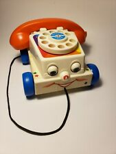 Vintage Fisher Price Chatter Rotary Dial Clicker Phone Pull Toy Telephone 2009