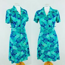 1970s VTG Collar PUCCINI Floral A Line Turquoise Blue Midi Shirt Dress S/M 10/12