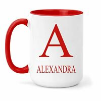 Alexandra Name & Initial Mug - Gift in Many Colours For Tea or Coffee
