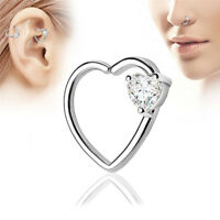 Crystal Heart Hoop Nose Ear Rings Helix Tragus Cartilage Earrings Piercings UR