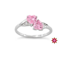 ~ Sterling Silver Double Heart Pink Ice CZ Ring Size 8 ~